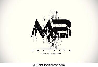 b, grunge, illustration., mb, m, colori, vettore, disegno, spazzola, lettera, logotipo, nero