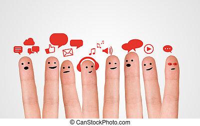 b, gruppo, segno, smileys, discorso, dito, chiacchierata, sociale, felice
