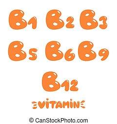 b, gruppo, vitamina, passare insieme, disegnato