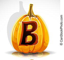 b, halloween, pumpkin., skære, font, ydre