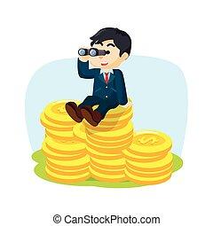 b, hommes affaires, monnaie, pile