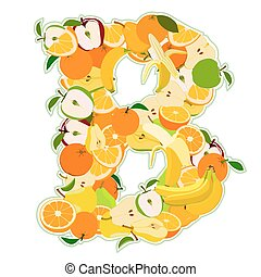 b, -, illustration, vecteur, lettre, fruits., fait