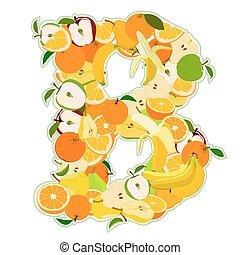 b, -, illustrazione, vettore, lettera, fruits., fatto