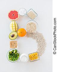b, ingredienten, voedingsmiddelen, op, vorm, brief, afsluiten