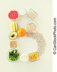b, ingredientes, alimento, arriba, forma, carta, cierre