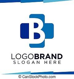 B Initial Letter cross medical logo vector template