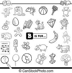 Black and White Cartoon Illustration of Finding Picture Starting with Letter B Educational Game Workbook for Children Coloring Book