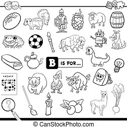 Black and White Cartoon Illustration of Finding Picture Starting with Letter B Educational Game Worksheet for Children Coloring Book