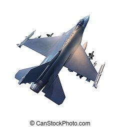 b, jet, isolé, avion, militaire, blanc