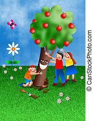 B, judío,  Tu,  shvat, feriado, caricatura