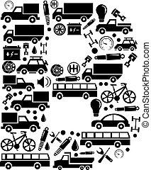 b, komplet, alfabet, abstrakcyjny, -, wektor, wóz, robiony, ikona