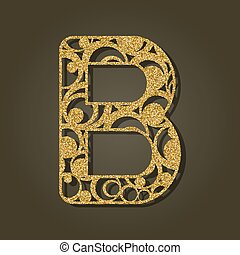 b, laser, illustration., oro, vector, carta, inglés,...