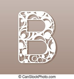 b, laser, illustration., vector, carta, inglés, alphabet.,...