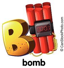 b, letra, bomba