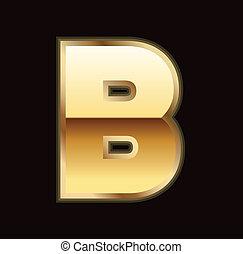 b, letra, em, ouro