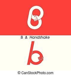 B - Letter abstract icon & hands logo design
