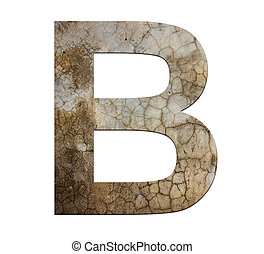 b letter cracked cement texture isolate