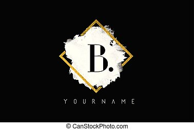 B Letter Logo Design with White Stroke and Golden Frame.