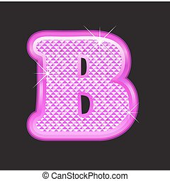B letter pink bling girly