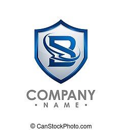 B letter Shield house icon logo design vector template