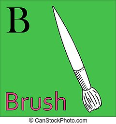B letter. Vector alphabet. Coloring book brush