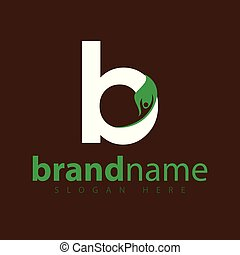 b letter with leaf people logo icon vector template