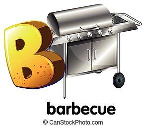 b, lettre, barbecue