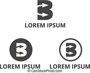 b, lettre, espace, négatif, conception, flèche, logo, icône