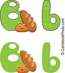 b, lettre, pain