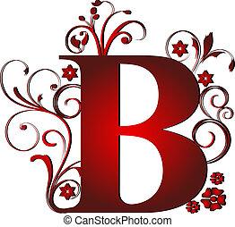 b, lettre, rouges, capital