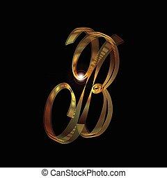 b, litera, złoty