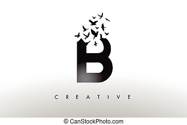 B Logo Letter with Flock of Birds Flying and Disintegrating...