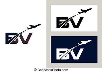 b, luchtvaart, luchtroute, reizen, template., vliegtuig, logo, v, ontwerp, lucht, aanvankelijk, brief
