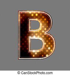 b, lumière, texture, incandescent, lettre, noël