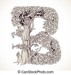 b, magia, vindima, -, árvores, mão, floresta, desenhado, ...