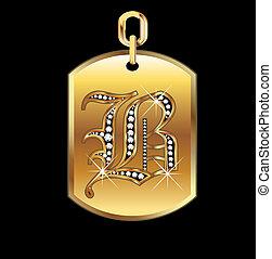 b, medaille, in, goud, en, ruiten, vector