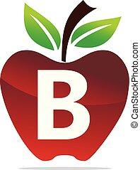 b, mela, vettore, disegno, lettera, logotipo, sagoma