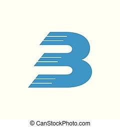 b, mocny ruch, wektor, litera, logo