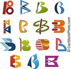 b, negócio, abstratos, letra, fonte, identidade, ícone