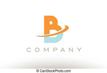 B orange blue logo icon alphabet design