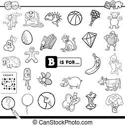 b, pédagogique, jeu, livre coloration