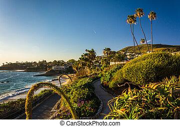b, pacífico, parque, océano, heisler, laguna, jardines, ...
