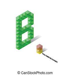 B - Pixel Isometric Alphabet