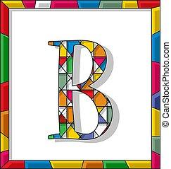 b, plamiony, litera, szkło