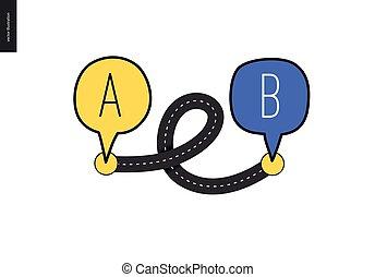 b, point