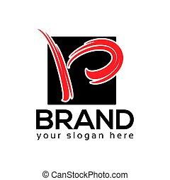 B Rectangular Logo. flat design. Vector Illustration on white background