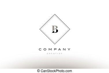 Bv B V Retro Vintage Black White Alphabet Letter Logo Bv B V