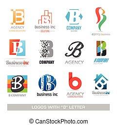 b, set, lettera, icone affari