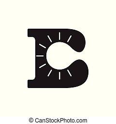 b, simple, lumière, vecteur, lettre, logo, ampoule