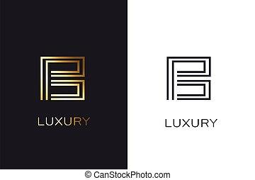 b, style, appelé, luxe, monogram., lettre, or